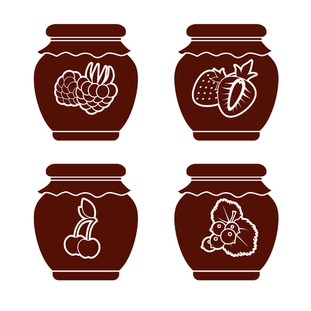 Set of monochrome icons of berry jam on a white background. Vector isolated objects. Illustration