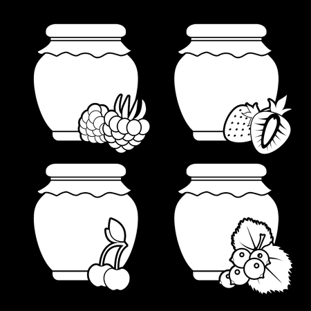 Set of white monochrome icons of berry jam on a black background. Vector isolated objects. Illustration