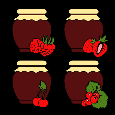 Set of color icons of berry jam on a black background. Vector isolated objects.