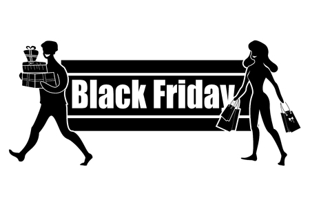 Horizontal Logo for Black Friday Day. Satisfied with good shopping buyers. People buy gifts and items on sale. Vector illustration.