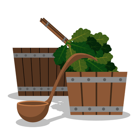 Set for a sauna from two wooden tubs a scoop for water and a broom from oak branches. Vector illustration. Illustration