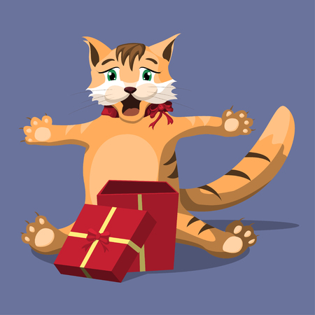 Red cute homemade cat opened a red gift box. Joy and surprise from the gift. Vector illustration. Illustration
