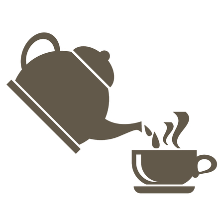Icon for the tea ceremony. From the kettle boiling water is poured into the cup. Vector icons on white background.