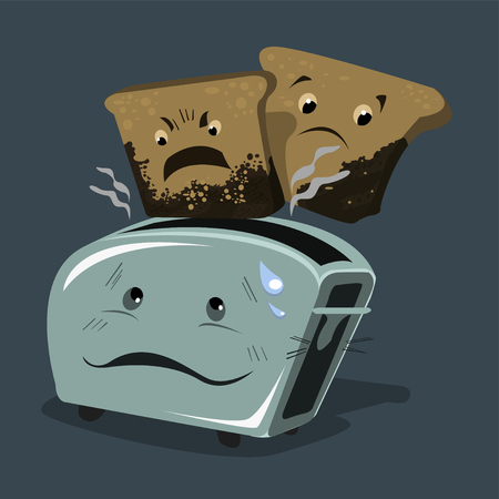 Toaster with overcooked burnt bread. Different emotions on the same situation. Vector illustration.