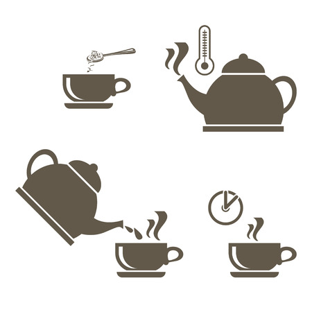 A set of icons for brewing tea in a cup that includes a boiling kettle with a thermometer, adding brewing and waiting time. Vector icons on white background.