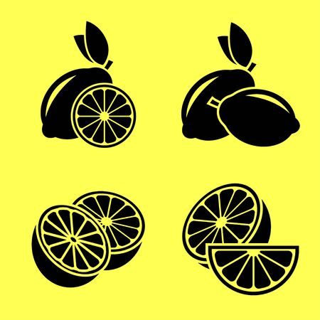 Lemon. A set of lemon in a different state. Black vector icons on a yellow background.
