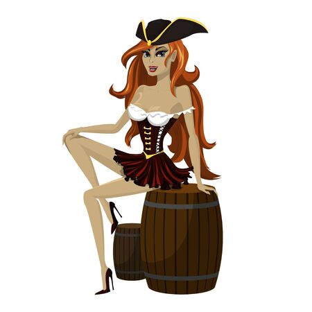 Girl pirate with beautiful long red hair in a pirate hat playfully sits on a wooden barrel. Vector illustration in cartoon style. 일러스트