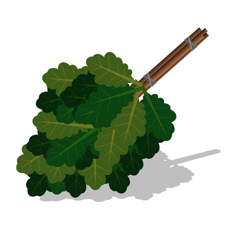 Broom for a bath or sauna from oak branches. Illustration