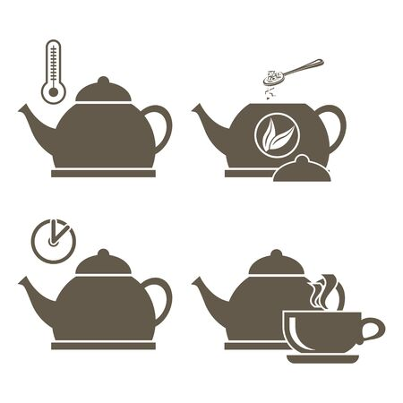 Set of icons for brewing tea with a boiling kettle and thermometer, adding brewing and waiting time.