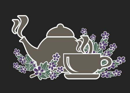 Icon set for tea with thyme. Healthy tea. Brewing thyme in the kettle and cup. Vector icon Illustration