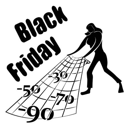 Woman Buyer catches discounts during Black Friday sales. Catch more discounts. Vector illustration.