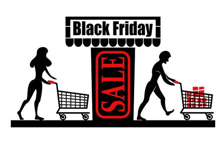 People with carts before and after shopping. Black Friday Sale - the carts are full. Vector illustration.