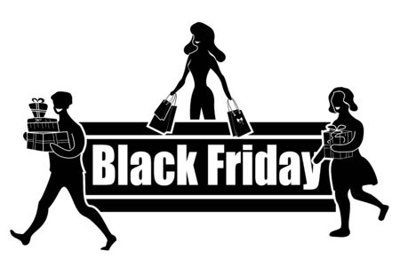 Horizontal sign for Black Friday Day. Satisfied with good shopping buyers. Vector illustration.