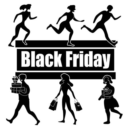 Black Friday Sale Day. People running for shopping and people going shopping. Vector illustration. Illustration
