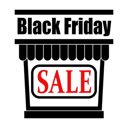 Black Friday Sale Day. Store icon with a sale. Showcase in black with the words Sale in the center. Vector illustration.