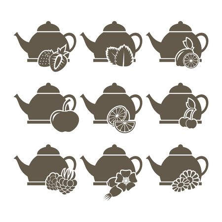 Set of 9 icons of teapots with different flavors or flavors of tea. Vector icons on white background.