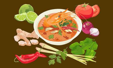 Thai spicy shrimp soup