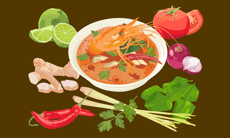 thai herb: Thai spicy shrimp soup