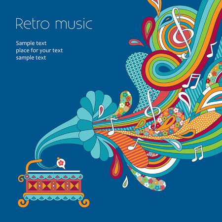 レトロなスタイルの図は青い背景で遊んでの古い蓄音機  イラスト・ベクター素材
