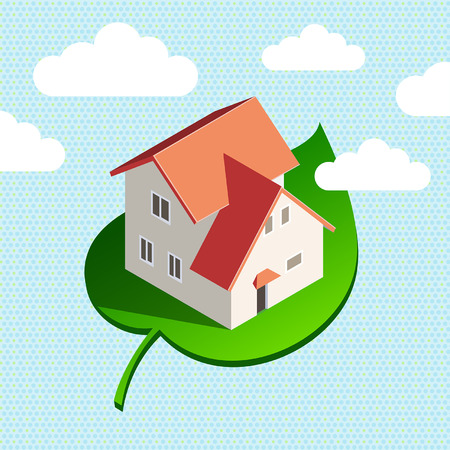 leave: Eco house in the sky concept background illustration Illustration