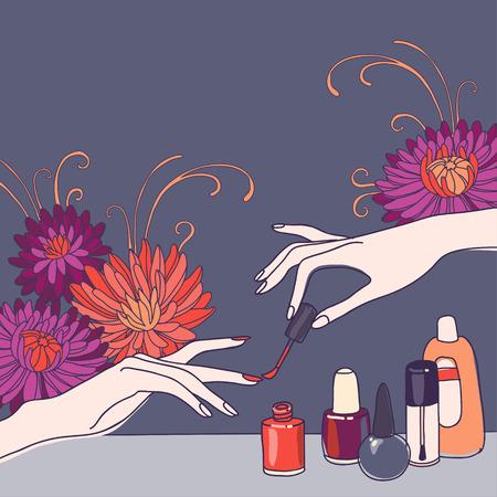 flower art: Nail art concetto di salone di sfondo