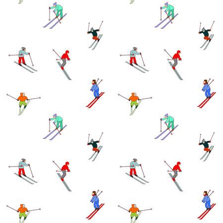 skiers: Winter seamless pattern  Happy  skiers on downhill Illustration