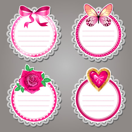 nice day: Set of cute valentine lace stickers