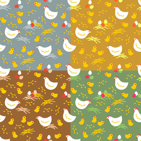 chikens: Chikens with colour eggs  Four easter seamless patterns Illustration