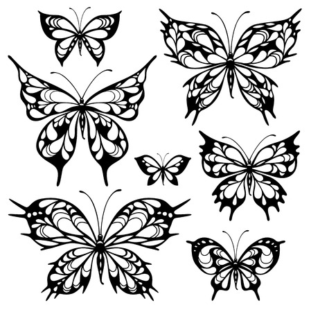 Set of fantasy tattooes of butterflies isolated on white Vector