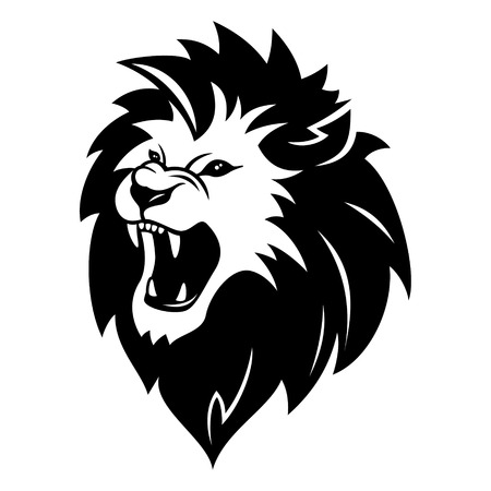 lion head: Head of roaring lion isolated on white background Illustration