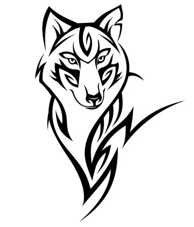 Wolf tribal tattoo black isolated on white Vettoriali