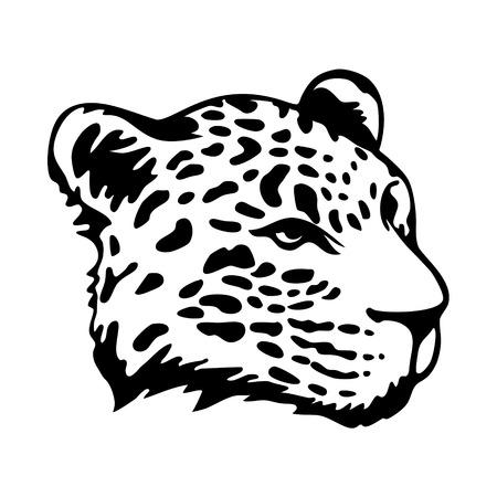 stylize: Stileren jaguars hoofd op een witte achtergrond Stock Illustratie
