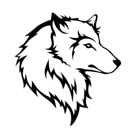 Estilizar lobos cabeza aislada en el fondo blanco Ilustración de vector