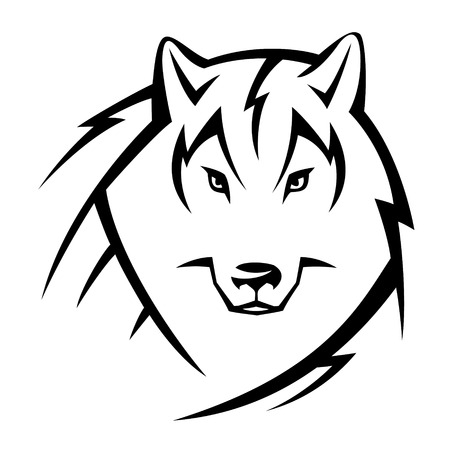 cruel zoo: Head of wolf  Tribal tattoo sketch isolated on white