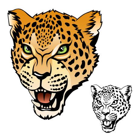 jaguar: Jaguar cabeza de color e ilustraci�n conjunto negro Vectores