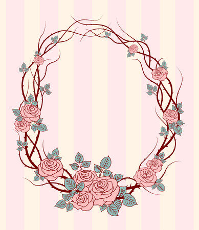Romantic round frame with wild roses for wedding design Vector