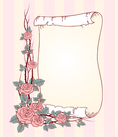 prickle: Branches of wild roses and empty paper roll  Wedding background