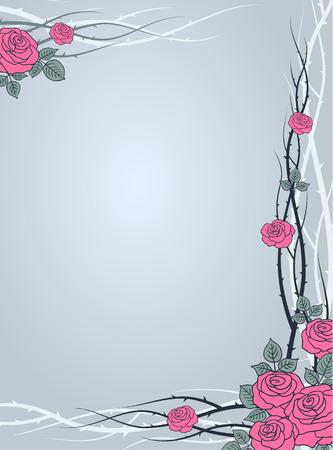 prickles: Rami di rose selvatiche su sfondo grigio illustrazione vettoriale