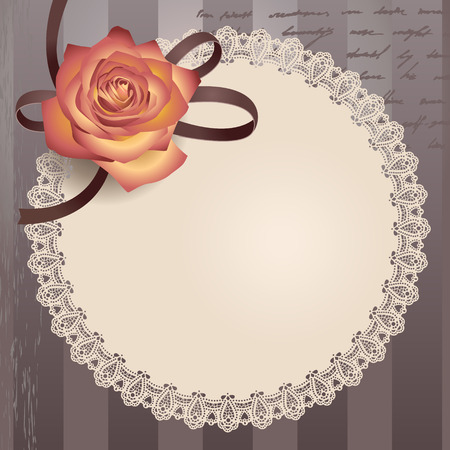 frill: Retro card with round lacy napkin and rose
