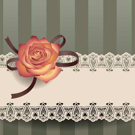 Retro card with lacy ribbon and rose
