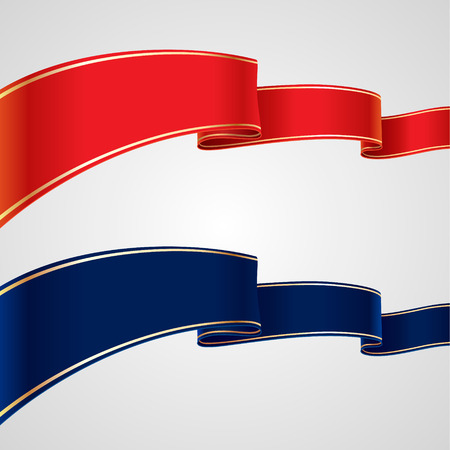 Set of red and blue ribbons for your design