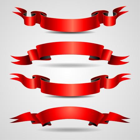 Ensemble de rubans rouges antiques pour votre conception Vecteurs
