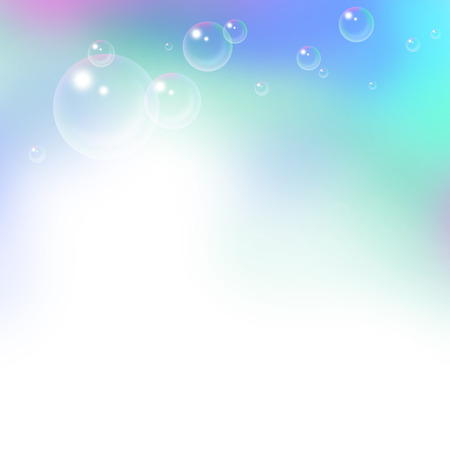soap bubbles: light blue background with flying soap bubbles Stock Photo
