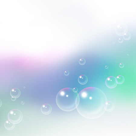 soap suds: light blue background with flying soap bubbles Stock Photo