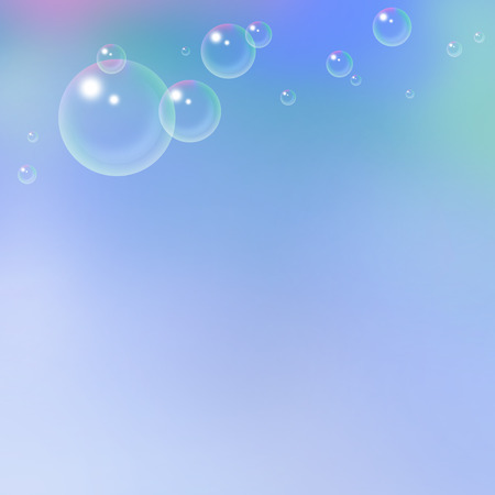 wet flies: light blue background with flying soap bubbles Stock Photo