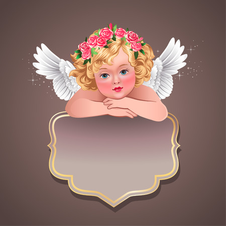 guardian angel: Empty vintage label with cute cherub  Illustration