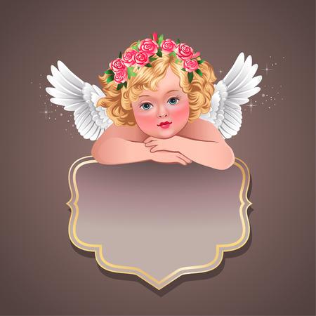 Empty vintage label with cute cherub  Illustration