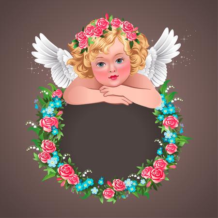 angel roses: little herub and floral wreath  Vintage illustration