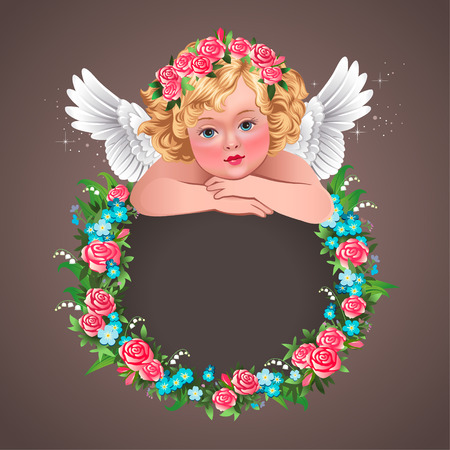 wenig herub und Blumenkranz Vintage Illustration