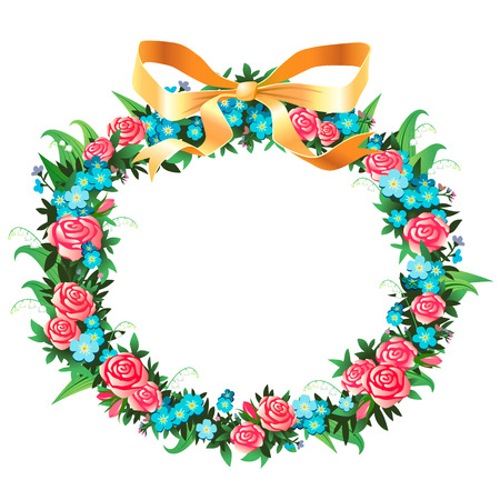 Vintage floral wreath isolated on white background Vector